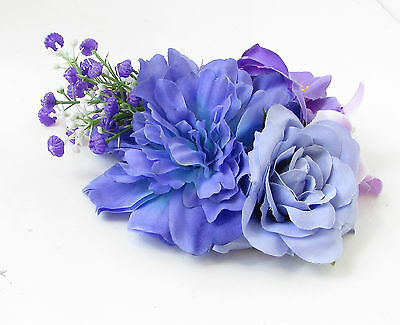 Purple Lilac Rose Peony Flower Fascinator Hair Clip Rockabilly Races Vintage 103 6