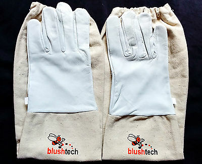 Beekeeper Beekeeping Bee gloves 100% Leather & Cotton Zean gloves Pair UK Seller 3