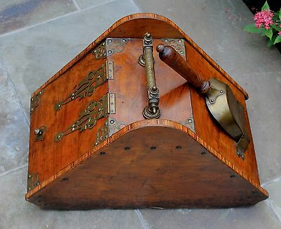 Antique French Burled & Inlaid Walnut Fireplace Hearth Coal Hod Scuttle Shovel 2