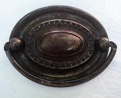 "Brass Federal Chippendale Antique Hardware Vintage Oval Drawer Pull 2.5"" center"