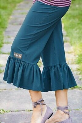 Matilda Jane ALPHA Big Ruffles Small S Cropped Capris Teal Blue Women's NWT 2
