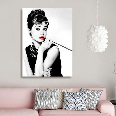 Audrey Hepburn 2 QUADRO SU TELA 70x50 STAMPA BIANCO NERO LABBRA ROSSE SOGGIORNO 3