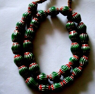 "20"" 32 Bead Antique Phoenician Green, White,Red Six Layer Chevron Glass Necklace 10"