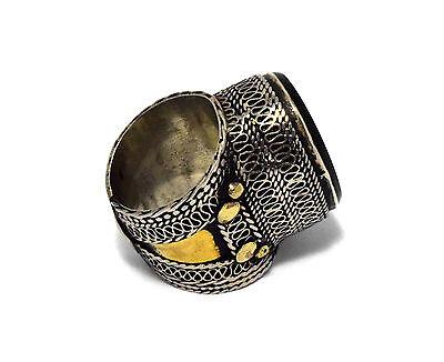Black Onyx Stone Ring Turkmen Tribal Kuchi Afghan Jewelry Ethnic Gypsy Boho Ring 4
