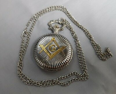 Masonic Silver & Gold Pocket Watch Compass Symbol Unknown Group Temple Lodge UK 2