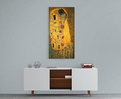 Quadro Klimt IL Bacio Stampa su Tela Canvas Vernice Pennellate Effetto Dipinto 4
