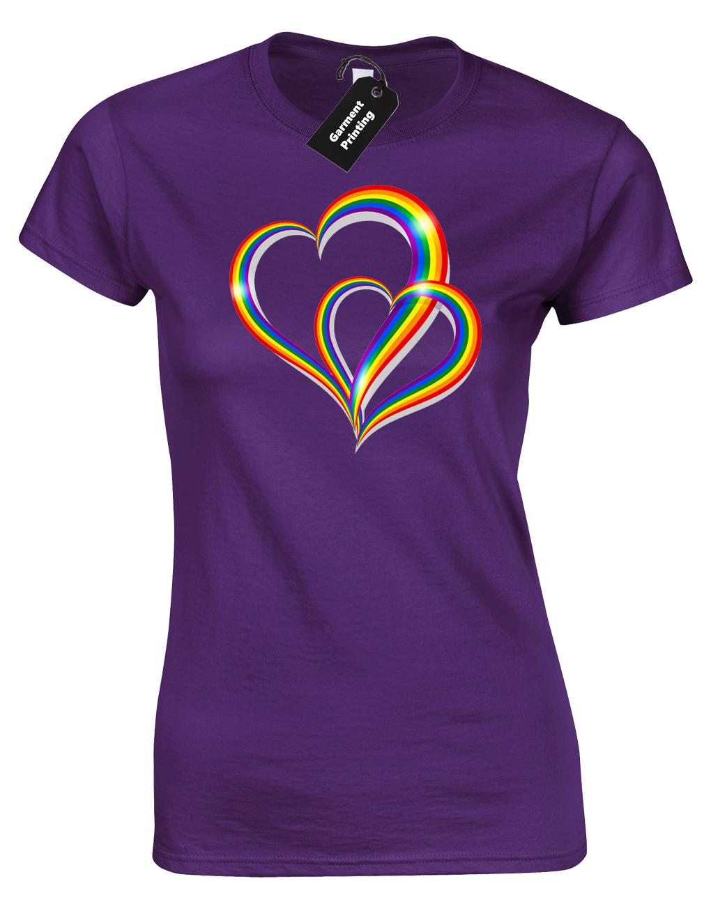 2 Pride Hearts Ladies T-Shirt Gay Lesbian Lgbt Unisex Rainbow Womens Top ( Col) 8