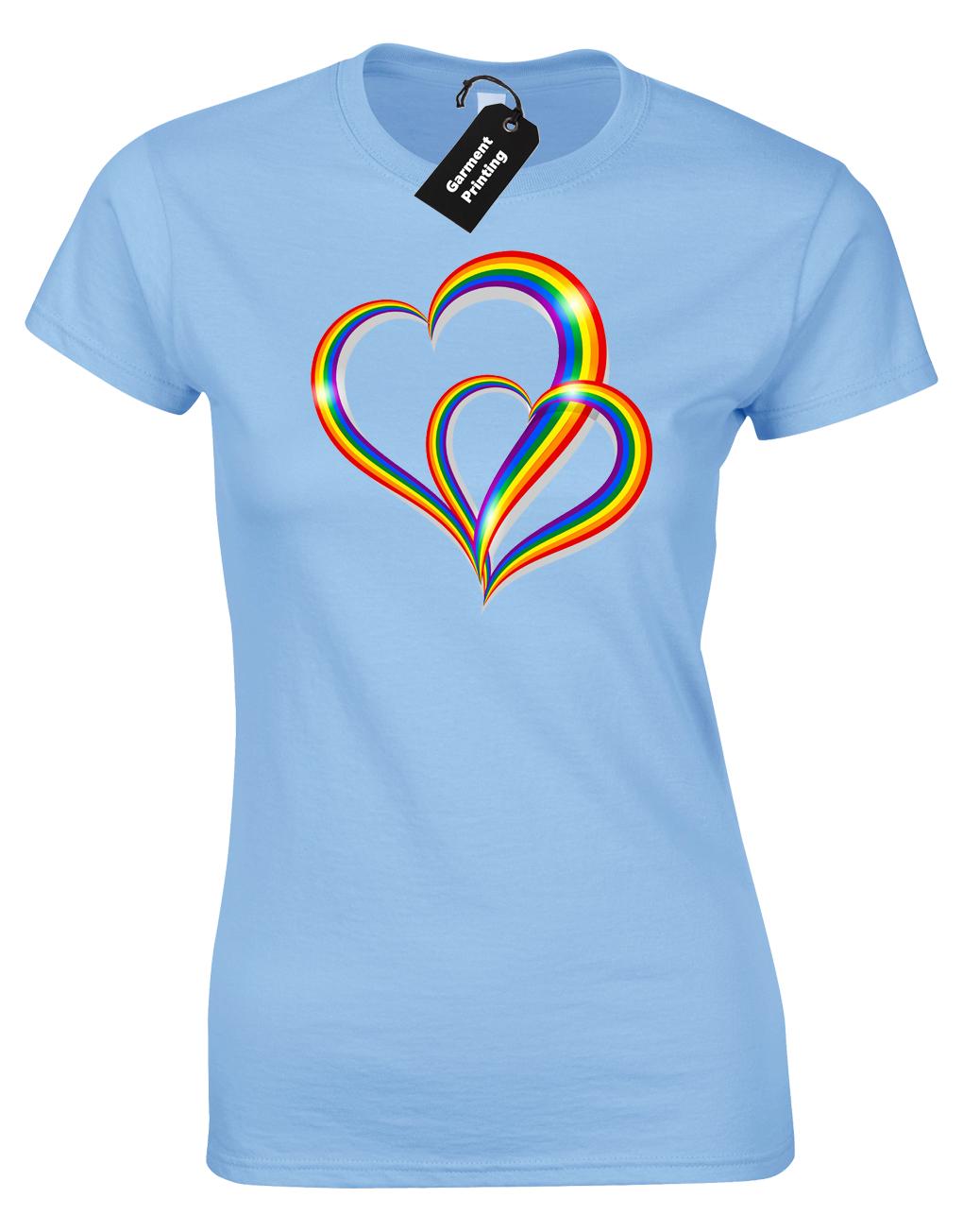 2 Pride Hearts Ladies T-Shirt Gay Lesbian Lgbt Unisex Rainbow Womens Top ( Col) 7