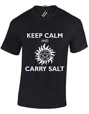 KEEP CALM AND CARRY SALT LADIES T SHIRT SAM DEAN CROWLEY IMPALA ENOCHIAN DEMON