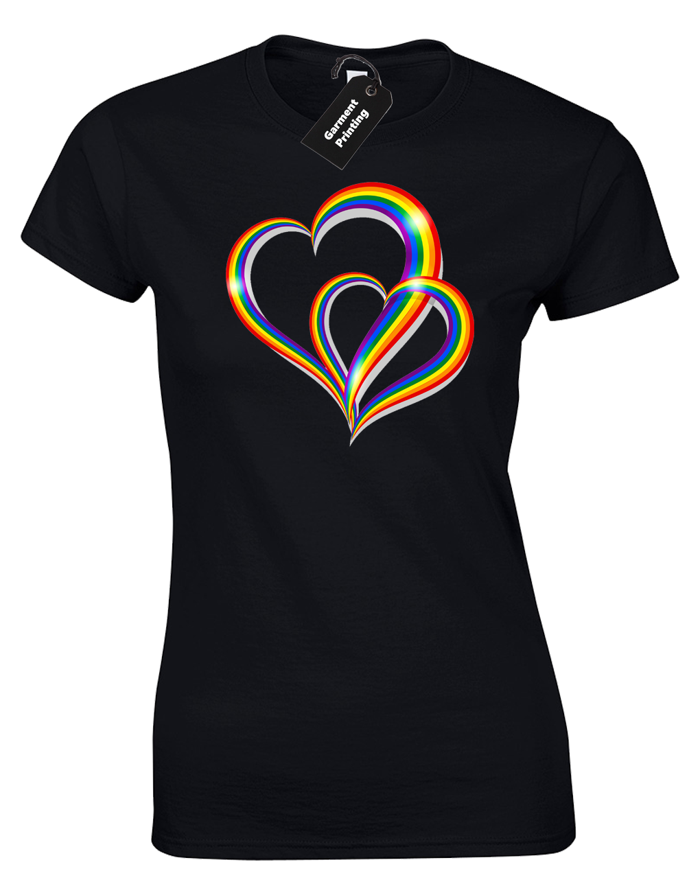 2 Pride Hearts Ladies T-Shirt Gay Lesbian Lgbt Unisex Rainbow Womens Top ( Col) 12