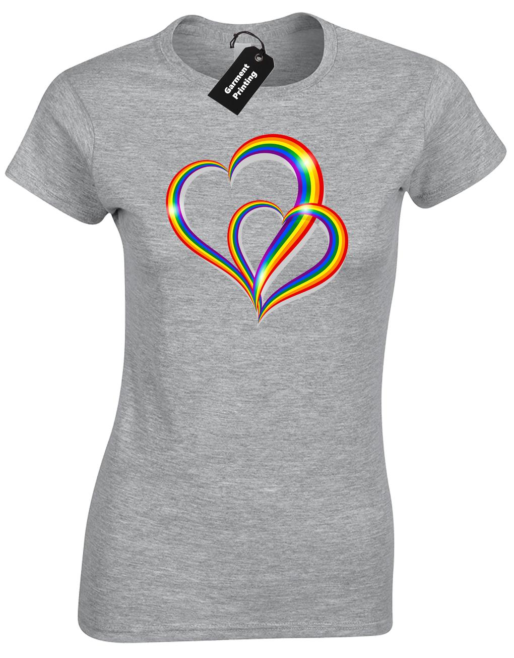 2 Pride Hearts Ladies T-Shirt Gay Lesbian Lgbt Unisex Rainbow Womens Top ( Col) 5