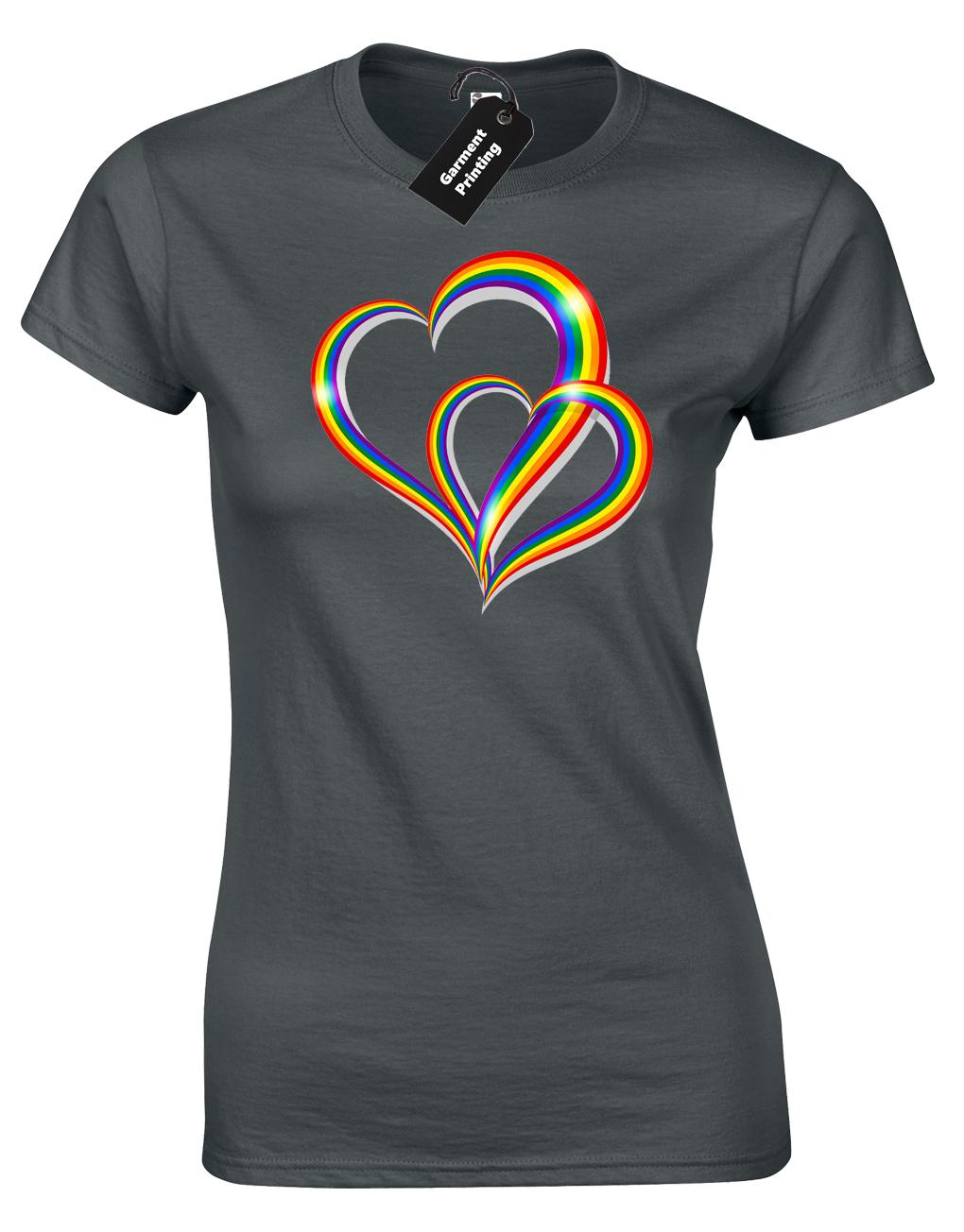 2 Pride Hearts Ladies T-Shirt Gay Lesbian Lgbt Unisex Rainbow Womens Top ( Col) 2