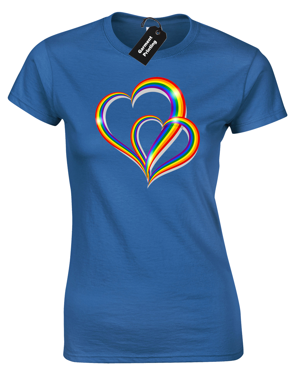 2 Pride Hearts Ladies T-Shirt Gay Lesbian Lgbt Unisex Rainbow Womens Top ( Col) 10