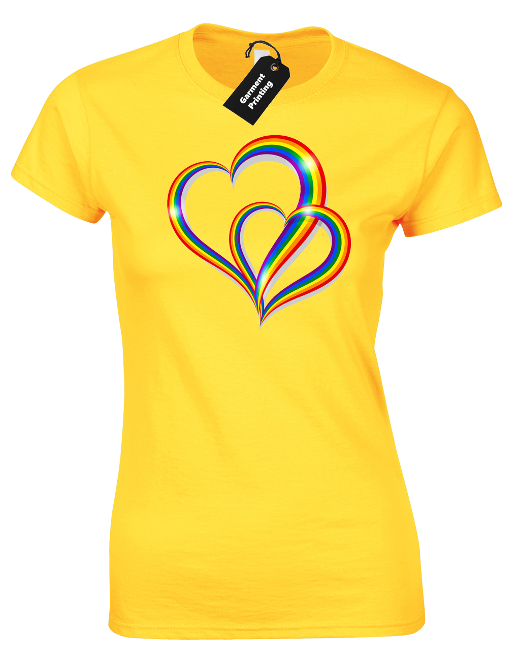 2 Pride Hearts Ladies T-Shirt Gay Lesbian Lgbt Unisex Rainbow Womens Top ( Col) 3