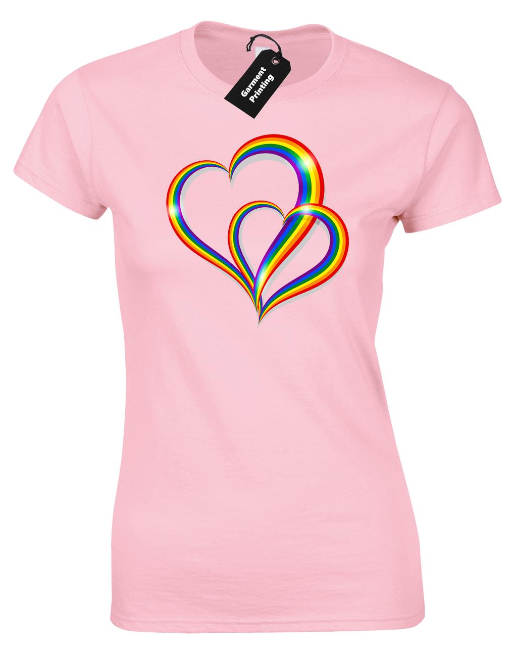 2 Pride Hearts Ladies T-Shirt Gay Lesbian Lgbt Unisex Rainbow Womens Top ( Col) 11