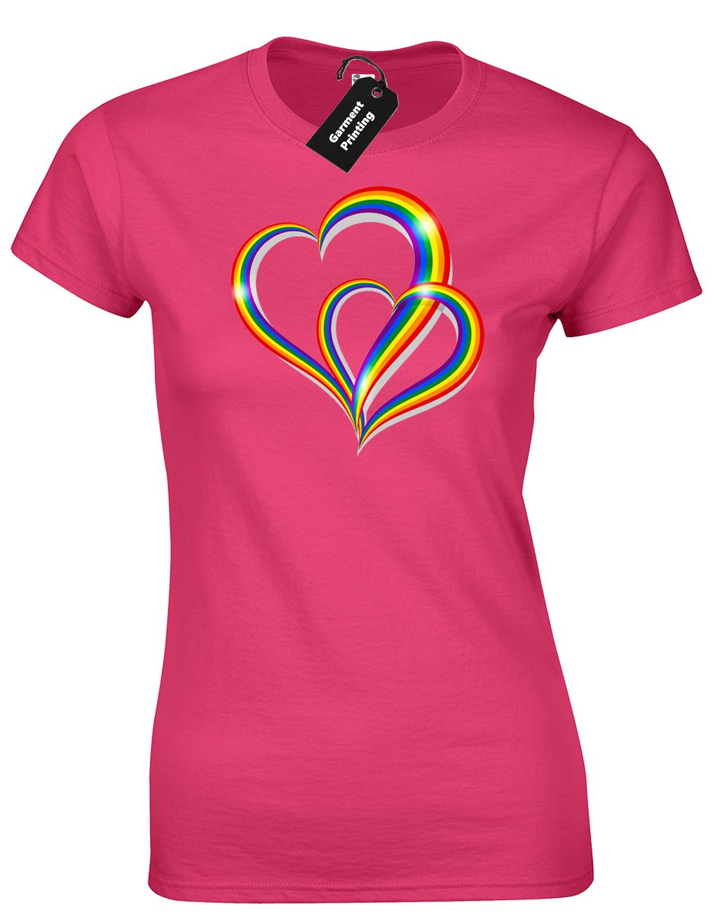 2 Pride Hearts Ladies T-Shirt Gay Lesbian Lgbt Unisex Rainbow Womens Top ( Col) 6