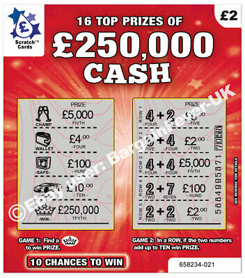 World's Most Realistic - Fake Joke Lottery Scratch Cards Scratchcard Tickets 5