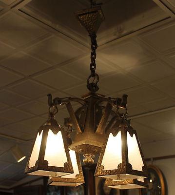 Arts & Crafts mission Hand Hammered hanging slag light glass Chandelier fixture 7