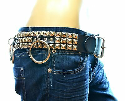 Studded Bondage Belt Leather Punk Goth Metal Rock Garage Band Heavy Metal UK 70