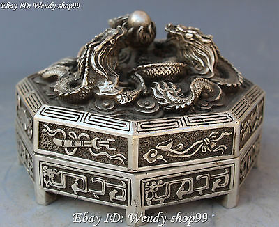 13cm Chinese Silver Carving Dragon Loong Eight Immortals Fqi Statue Case Box 3