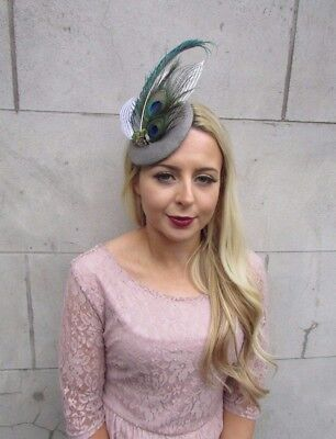 Soft Grey Green White Tweed Peacock Feather Pillbox Hat Races Fascinator 4420 2