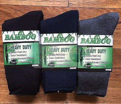 6 Pairs 98% BAMBOO SOCKS Men's Heavy Duty Premium Thick Work BLACK/Navy/Grey 3