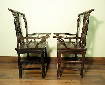 Antique Chinese High Back Arm Chairs (5683) One Pair, Circa 1800-1849 10