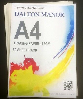A4 TRACING PAPER 25/50/100/250 SHEET PACKS TRANSLUCENT 65gm CALIGRAPHY / CRAFTS