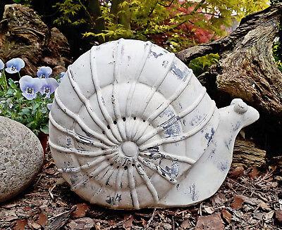 ❀ Große Schnecke Creme Gartenschnecke 30cm Schneckenhaus 4kg Zement Keramik #279