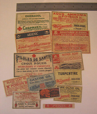 Set of 13 POISON VINTAGE LOOK APOTHECARY LABELS Halloween / Primitive 6
