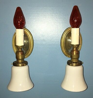 Pair 2 Candle & Glass Shade Wall Sconces Art Deco Beautiful Unique Rare 2