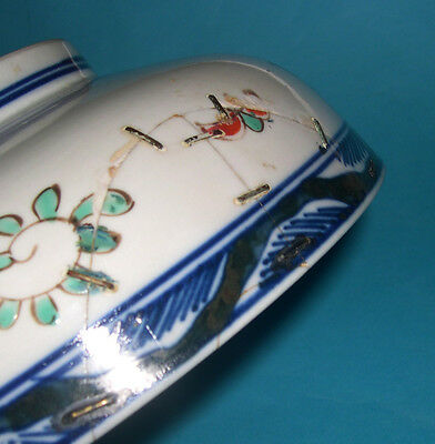 Antique Japanese Pottery - Attractive Pattern (Hand Painted) Rivet Repair BOWL 5