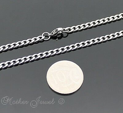 50Cm Silver 316L Stainless Steel 4.5Mm Curb Chain Mens Womens Unisex Necklace 2