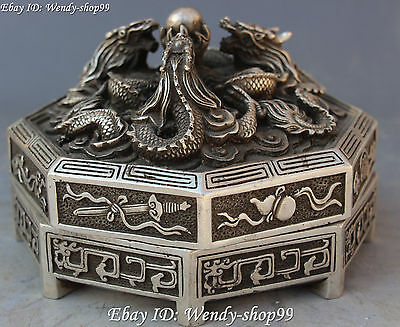 13cm Chinese Silver Carving Dragon Loong Eight Immortals Fqi Statue Case Box 2