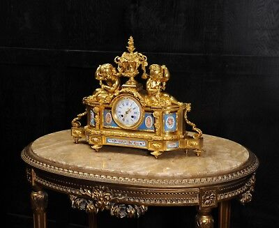 Large Antique French Ormolu And Sevres Porcelain Clock Cherubs Stunning 1850 2