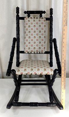 Antique Eastlake Child's Size Rocker Victorian Wooden Doll Rocking Chair Vintage 7