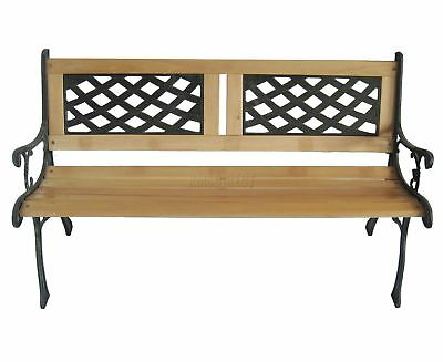 WestWood 3 Seater Outdoor Wooden Garden Bench Cast Iron Legs Park Seat Furniture 4