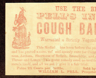 Pell's Indian Cough Balsam Cure Asthma Remedy bottle card Victorian Advertising 8