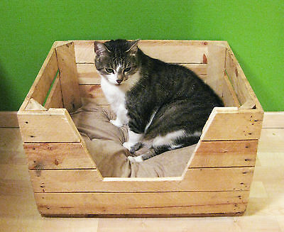 KATZENBETT Tierbett Hund Katze Bett Korb Körbchen Kissen OBSTKISTE Holz Kiste 6