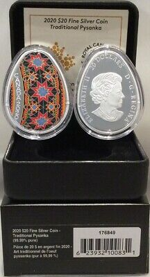 2020 Traditional Ukrainian Pysanka $20 1OZ Egg Shaped Silver Proof Coin Canada 2