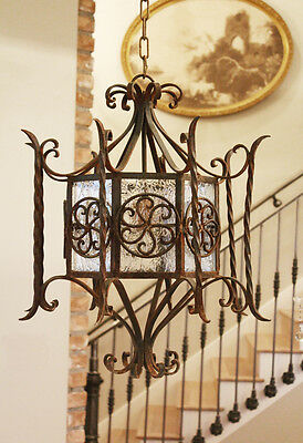 1800s French Antique Hand Wrought Iron Hanging Lantern Light 3