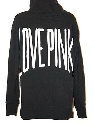VICTORIA'S SECRET LOVE PINK HOODIE Sweater Long Sleeve Black White ...