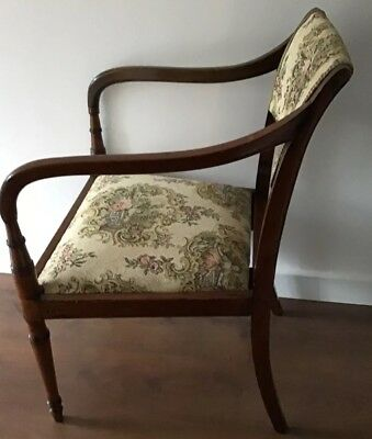 Antique Regency Mahogany Carver Chair With Downswept Arms And Lift Off Seat 4