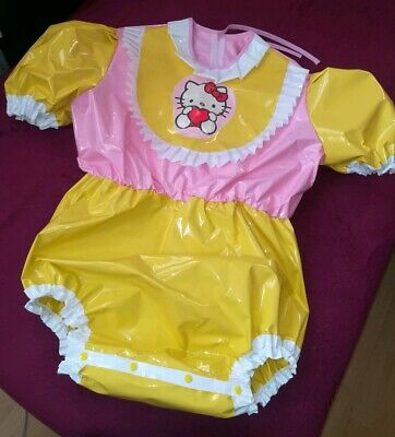 Adult Baby Body Spreizbody Windelbody DIAPER SPREIZHOSE PVC LACK HALLO KITTY XL 8