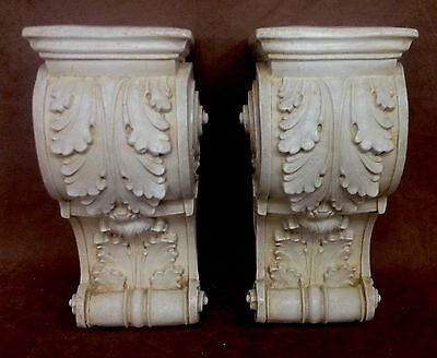 Pair Shelf Acanthus leaf Wall Corbel Sconce Bracket Architectural Accent 5