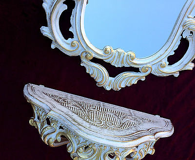 Wall Mirror Baroque White Gold with Console Table Antique Tray Shelf in the Set 5