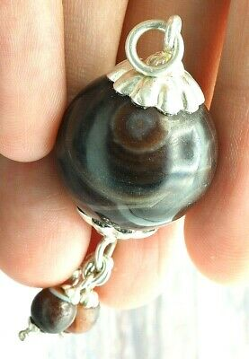 Old Eye Agate Indus Valley Sterling Silver Small Ancient Eye Agate Bead Pendant 4