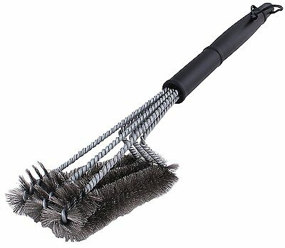 """BBQ Grill Brush Cleaner 18"""" Grilling Tool Cleaning Stainless Steel Woven Wire 12"""
