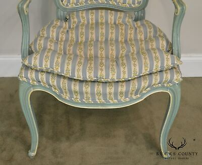 French Louis XV Style Vintage 1960's Custom Painted Pair Armchairs 9