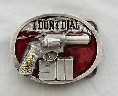 Vintage Siskiyou Buckles Co. Pewter I Don't Dial 911 Gun Belt Buckle Made in USA 2